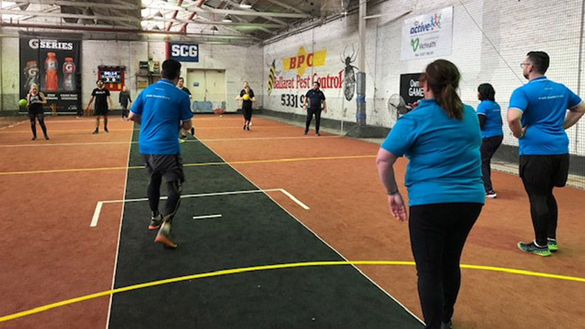 Bank First Relationship office competing in dodge ball at the 2018 VTG.